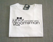Junior Groomsman Black Bow Tie Personalized Wedding T-Shirt