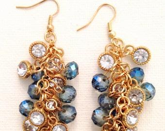 Crystal blue drop earrings