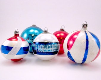 Red White And Blue Vintage Glass Christmas Holiday Ornaments Patriotic Mouth Blown