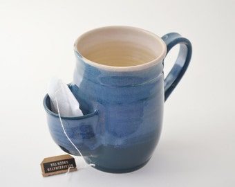 Teal Pocket Mug, Sidekick Mug, Stoneware Mug with Pouch to Store Tea Bag, Made to Order