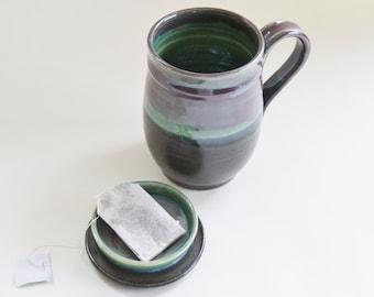 Green Burgundy Black Tea Mug with Lid for Holding Tea Bag, Lidded Mug, Made to Order