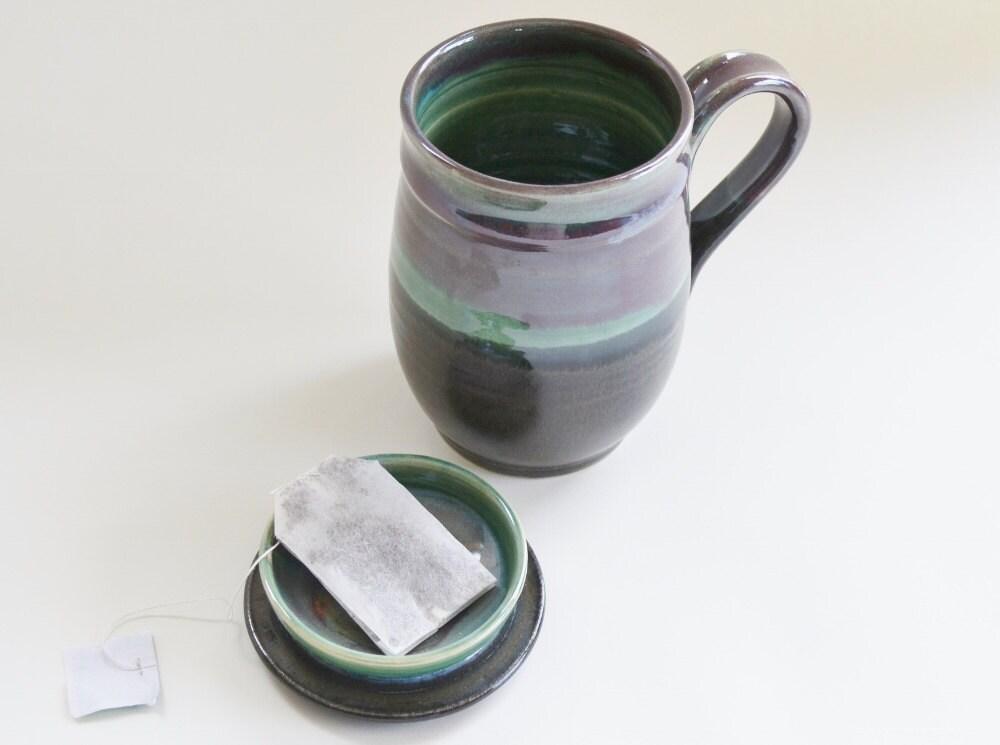 green burgundy black tea mug with lid for holding tea bag. Black Bedroom Furniture Sets. Home Design Ideas