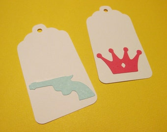 12 gun and crown gift tags, baby reveal, Guns or Glitter party