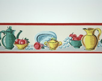 Full Vintage Wallpaper Border - TRIMZ - White and Red Kitchen Border, Fruit and Dishes Still Life - 3 inch