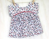 4th of July baby top 18th months red white blue stars  Cool and comfy summer fun for toddler girls