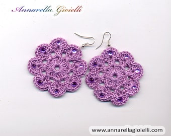 Crochet earrings #E191, lilac,  flower, handmade, shimmer, golden, thread, cotton, modern style