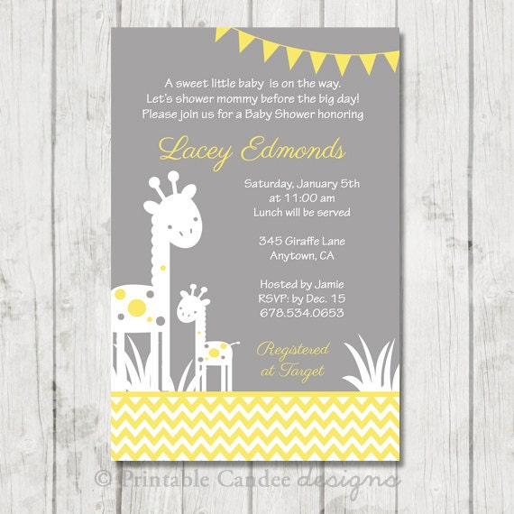 Gray And Yellow Baby Shower Invitations Part - 27: Items Similar To Yellow And Grey Giraffe Silhouette Baby Shower Invitation  - DIY Custom Printable On Etsy