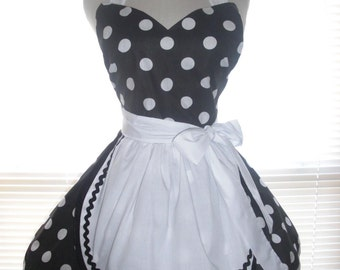 French Maid Apron Pin-up Retro Style Black with Large White Polka Dots Flirty Skirt Sweetheart Neckline