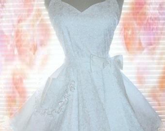 White Retro Apron Classy Little White Apron Bridal Apron Circular Skirt