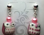 Pink Owl Earings