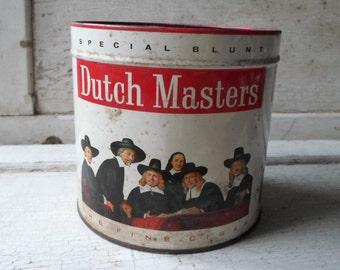 Tobacco Tin, Round Tin Box, Cigar Tin, Old Tin Box, Humidor, Cigar Box, Large Tin, Mad Men, Man Cave, Prop, Props, All Vintage Man