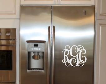 Monogram Initials Decal Personalized Vinyl Sticker - Kitchen Refridgerator - Bedroom Door