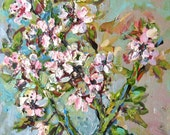 Blossom painting, original acrylic painting by Verbrugge, spring tree, blooming tree painting