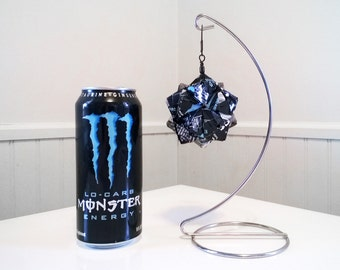 Monster Lo-Carb Energy Drink Origami Ornament.  Upcycled Recycled Repurposed Art