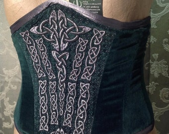 Green Velvet corset and Celtic embroidery