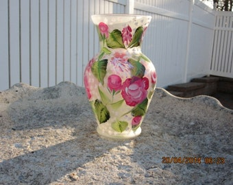 Hand painted Vase with Roses and Baby breath