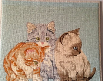 SALE Reduced / Needlepoint  Kittens / Wall Hanging of Neddlepoint Kittens / Potential Pillow of Needlepoint Kittens