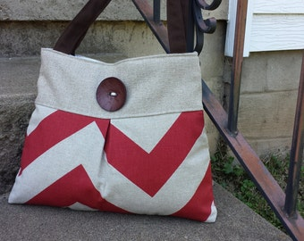 Red and Chevron Handbag Purse Tote Bag