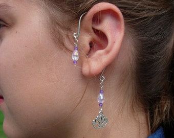 Ear Cuffs, Blue Tooth Style Ear Wraps, Earcuff, Non Pierced Earrings, Pair of Silver Plated Ear Cuffs with Genuine Amethyst and Lotus Flower