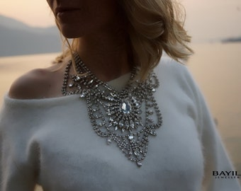 SALE Madame Bovary - Stunning Crystal Clear Swarovski Crystals Wedding Necklace, Statement Necklace - Ready to Ship