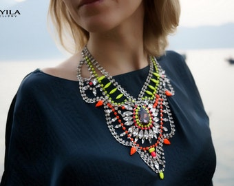 SALE Madame Bovary - Stunning Neon Painted Swarovski Crystals Summer Statement Necklace