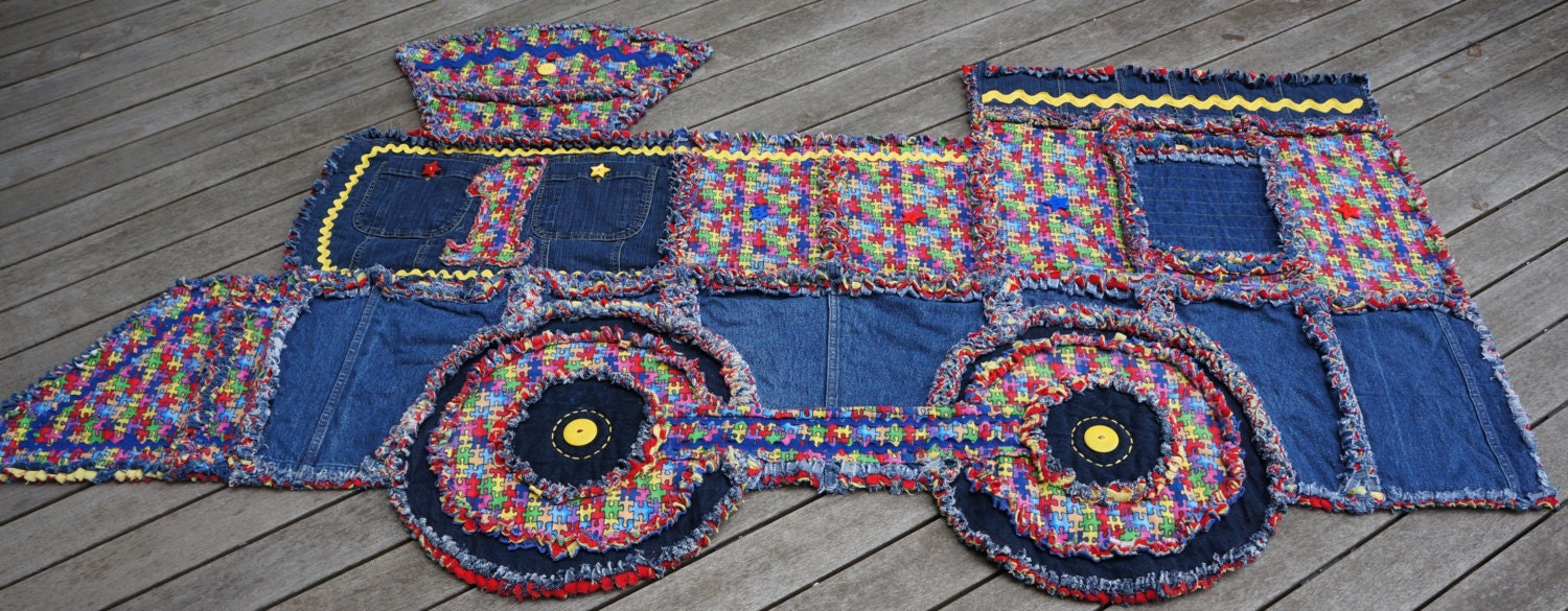 Train Rag Quilt Recycled Denim Puzzle Pieces Print