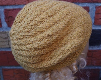 Cashmere and Merino Wool Blend Yellow Slouchy Warm Soft Hand Knit Hat