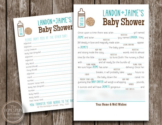 items similar to baby shower game mad libs milk cookies printable