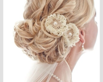 Bridal hair Cream Lace Hair Clip with Pearl Center Wedding Bride White Ivory BACK IN STOCK