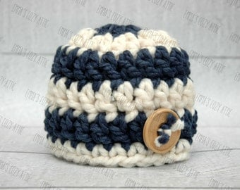 Newborn boy hat, baby boy hat, nautical, blue, ecru, newborn boy photo prop, baby boy coming home outfit, baby boy clothes, baby boy beanie