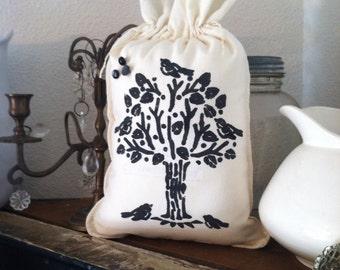 Flour sack tree with birds pillow, black tree and birds pillow, flour sacks