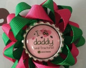 John Deere Tractor Alligator Hair Clip - Loopy Bow - Adult, Toddler, Infant  -Green - Pink - Alligator Clip - I LOVE DADDY