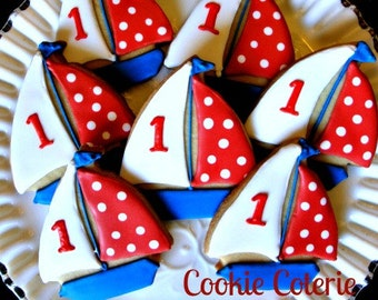 Sailboat Cookies Nautical Decorated Cookies Birthday Party Baby Shower Cookie Favors One Dozen