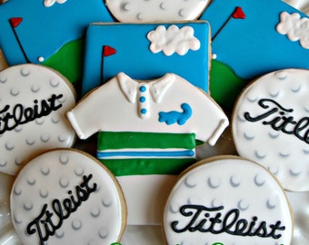 Golf Themed Decorated Cookies Golfer Birthday Party Cookie Favors One Dozen