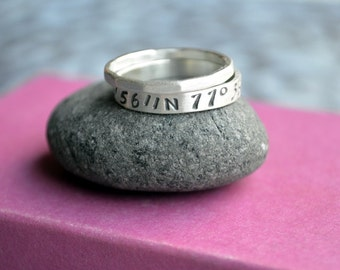 Latitude Longitude Double Ring Set in Sterling Silver, Location Ring, Ring with Coordinates