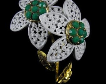 Flower Brooch White Enamel Goldtone Jade Look Rhinestones Vintage Figural Jewelry