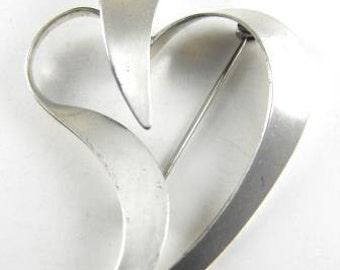 Beau Sterling Ribbon Heart Brooch Designer Signed Vintage