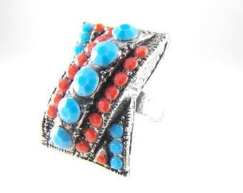 Funky Fashion Ring Turquoise Coral Color Rhinestones Cool Pave Setting Fun Vintage Jewelry