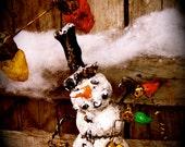 Snowman Hanging the Christmas Lights