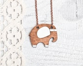 Brown Elephant Necklace, Wood pendant, Many color variations