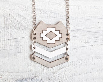 Wood Cat Necklace, Gray Cat Pendant, Tribal Necklace, Native American Necklace, Geometric Necklace, Gray Pendant, Native Pendant