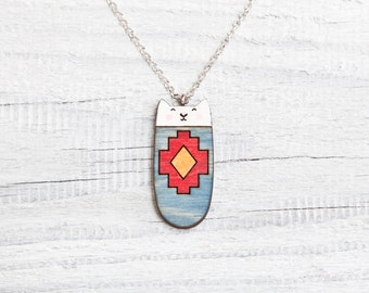 Wooden Cat Necklace, Cat Tribal Necklace, Native Pendant Blue Kids Jewelry, Girlfriend Gift, Animal Charm, Gift Sister, Geometric Necklace