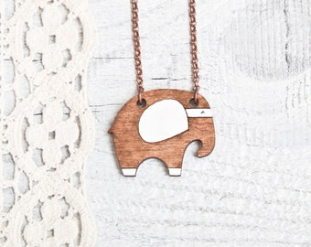 Brown Elephant Necklace, Wood pendant, Tiny Necklace, Girls Jewelry, Animal Pendant Mother Day Gift Many color variations