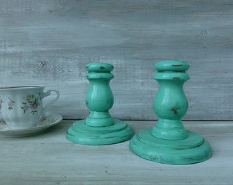 Distressed Mint Painted Candlesticks