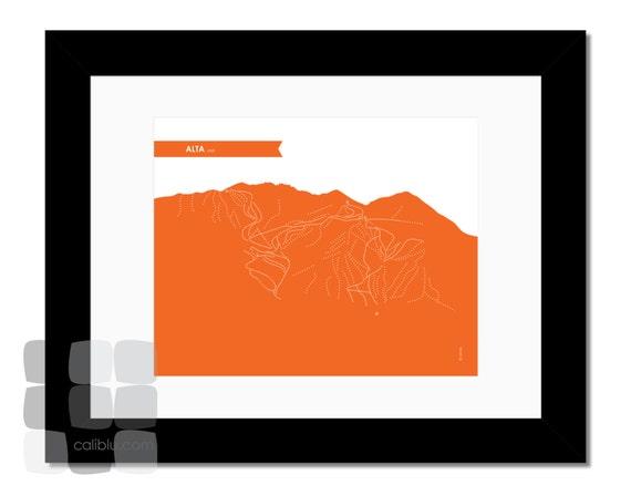Alta Ski Trail Map - Poster 8x10 - Modern Art Print