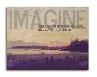 Beach wood art print, inspirational quote IMAGINE, wall decor, wood wall art
