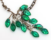Emerald Green Twig Necklace,  Teal Branch Necklace,  Leaf Necklace, Nature Jewelry, Leaf Jewelry, N424