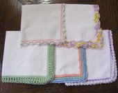 5 Vintage Handkerchiefs, Set of 5 Vintage 1950s Hand Crocheted Handkerchiefs, Multiple Color Borders
