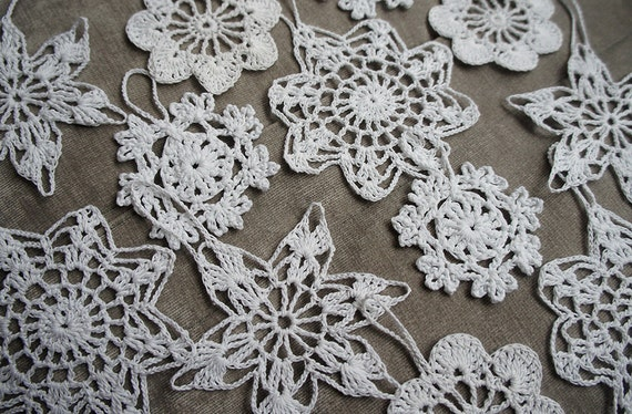 Christmas crochet Snowflake Ornaments. Set of 12 in 4 different designs.