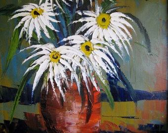 "Mid Century Original Oil painting by Charles J. Beauvais listed California artist 1917-1976 titled ""Spider Daisies"""